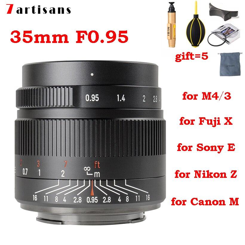 7 artisans 7artisans 35mm F0.95 APS-C camera lens for Sony E mount Nikon Z Olympus M4/3 Fuji XF X Canon EF-M EOS-M